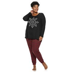 Plus Size Croft & Barrow® Holiday Graphic Tee & Joggers Pajama Set