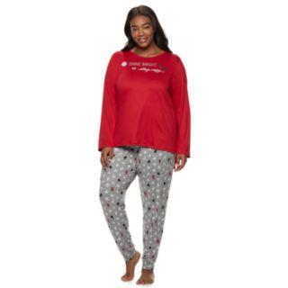 Plus Size Croft & Barrow® Holiday Graphic Tee & Joggers Pajama Set