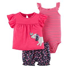Baby Girl Carter's Dog Applique Top, Striped Bodysuit & Floral Shorts Set