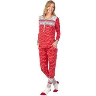 Women's Cuddl Duds Dreamer Henley 3-piece Top & Jogger Pajama Set