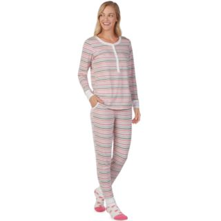 Women's Cuddl Duds Dreamer Henley 3-piece Top & Jogger Pajama Set