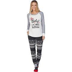 Women's Cuddl Duds Dreamer 3-piece Graphic Top & Joggers Pajama Set