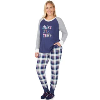 Plus Size Cuddl Duds Dreamer 3-piece Graphic Top & Joggers Pajama Set