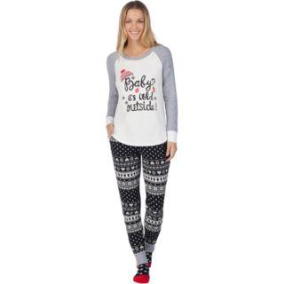 Petite Cuddl Duds Dreamer 3-piece Graphic Tee & Joggers Pajama Set