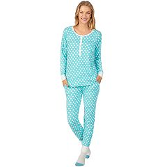 Women's Cuddl Duds Enchanted Henley Top, Jogger & Socks Pajama Set