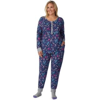 Plus Size Cuddl Duds Enchanted Henley Top, Jogger & Socks Pajama Set