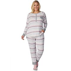Plus Size Cuddl Duds Enchanted Henley Top, Jogger & Socks Pajama Set