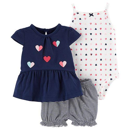 Baby Girl Carter's Peplum-Hem Top, Heart Bodysuit & Striped Shorts Set