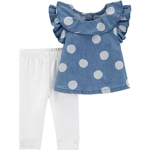 57d5f9522d Baby Girl Carter's Polka-Dot Chambray Top & Leggings Set