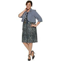 Plus Size Maya Brooke Abstract Floral Dress & Jacket Set