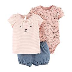 Baby Girl Carter's Bear Bodysuit, Tee & Chambray Shorts Set