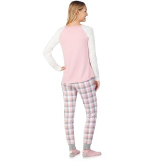 Women's Cuddl Duds Enchanted Graphic Top, Joggers & Socks Pajama Set