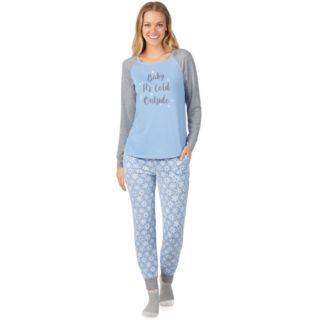 Women's Cuddl Duds Enchanted Graphic Top, Joggers & Socks Pajama Set