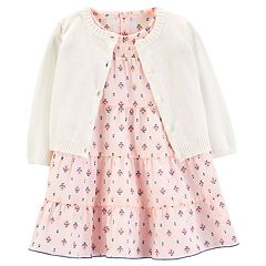 Baby Girl Carter's Tiered Dress & Cardigan Set