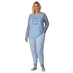 Plus Size Cuddl Duds Enchanted Graphic Tee, Joggers & Socks Pajama Set