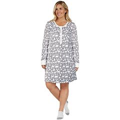 Plus Size Cuddl Duds Enchanted Henley Sleepshirt & Socks Set