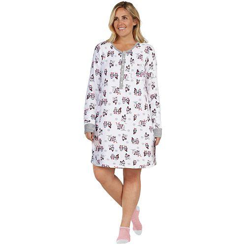 Plus Size Cuddl Duds Enchanted Henley Sleepshirt & Socks Set