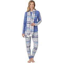 Women's Cuddl Duds 3-piece Microfleece Pajama Set