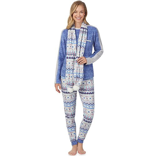 Women's Cuddl Duds Wonderland 3-piece Microfleece Pajama Set