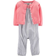 Baby Girl Carter's Striped Jumpsuit & Cardigan Set