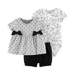 Baby Girl Carter's Polka-Dot Top, Unicorn Bodysuit & Shorts Set