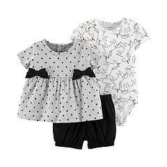 Baby Girl Carter's Polka-Dot Top, Unicorn Bodysuit & Shorts Set