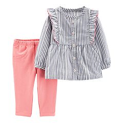 Baby Girl Carter's Striped Ruffle Shirt & Pants Set