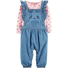 Baby Girl Carter's Floral Tee & Cat Chambray Overalls Set