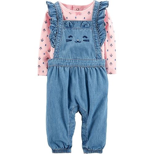 c828038e5 Baby Girl Carter's Floral Tee & Cat Chambray Overalls Set