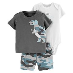 Baby Boy Carter's Graphic Bodysuit, Dinosaur Tee & Camouflage Shorts Set