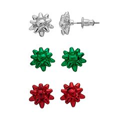 Christmas Bow Stud Earring Set