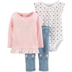 Baby Girl Carter's Ruffled Top, Floral Bodysuit & Striped Jeans Set
