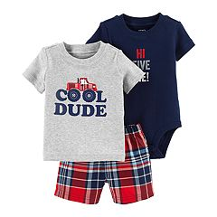 Baby Boy Carter's 'Cool Dude' Tee, Graphic Bodysuit & Plaid Shorts Set
