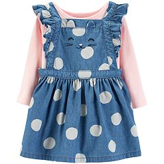 Baby Girl Carter's Pointelle Bodysuit & Polka-Dot Chambray Jumper Set