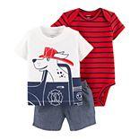 Baby Boy Carter's Fire Truck Dog Tee, Striped Bodysuit & Chambray Shorts Set