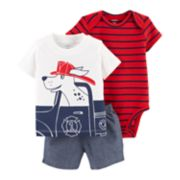 Baby Boy Carter's Fire Truck Dog Tee, Striped Bodysuit & Chambray Shorts Set