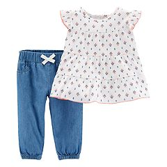 Baby Girl Carter's Tiered Gauze Top & Chambray Pants Set