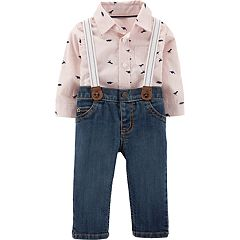Baby Boy Carter's Dino Button-Down Bodysuit & Suspender Jeans Set