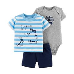 Baby Boy Carter's 'Leader Of The Pack' Bodysuit, Dog Graphic Tee & Shorts Set