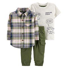 Baby Boy Carter's Dino Tee, Plaid Shirt & Pants Set