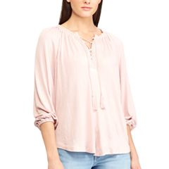 Women's Chaps Lace-Trim Peasant Top