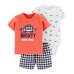 Baby Boy Carter's 'I'm Mighty Rawr-Some' Tee, Dinosaur Bodysuit & Plaid Shorts Set