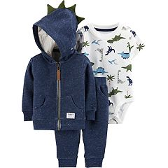Baby Boy Carter's Dinosaur Bodysuit, French Terry Hoodie & Pants Set