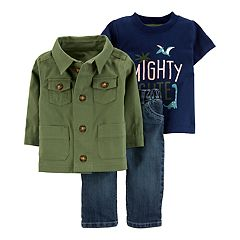 Baby Boy Carter's Dino Graphic Tee, Twill Jacket & Jeans Set