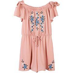 Girls 7-16 Speechless Embroidered Short Sleeve Romper