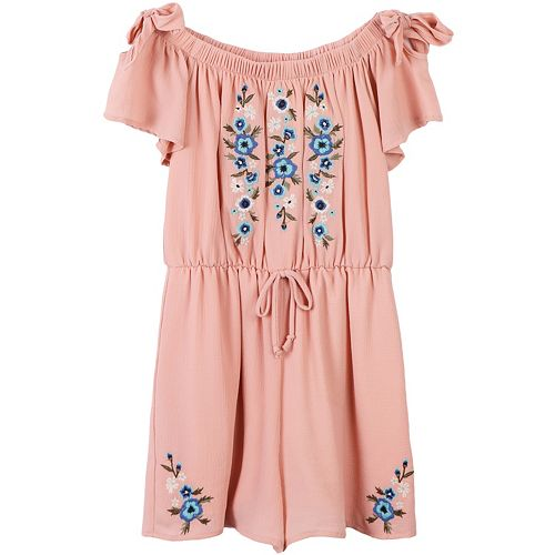 Girls 7-16 Speechless Embroidered Short Sleeve Romper
