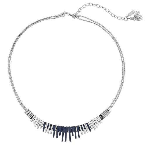 Simply Vera Vera Wang Blue & Silver Tone Bar Necklace
