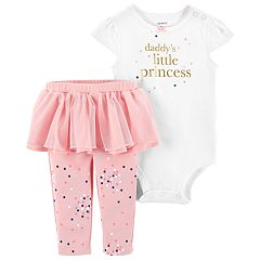 Baby Girl Carter's 'Daddy's Little Princess' Foiled Graphic Bodysuit & Tutu Leggings Set