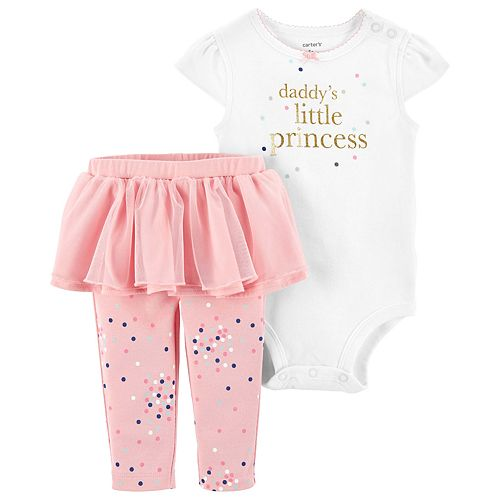 "Baby Girl Carter's ""Daddy's Little Princess"" Foiled Graphic Bodysuit & Tutu Leggings Set"