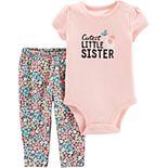 """Baby Girl Carter's """"Best Little Sister"""" Graphic Bodysuit & Floral Leggings Set"""